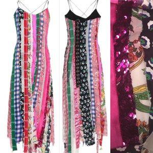 Angel Chen Multicolor Patchwork Silk 3/4 Dress S